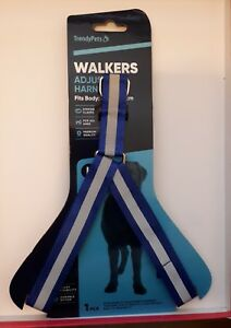 DOG HARNESS, REFLECTIVE  BLUE & SILVER  LARGE  50-70 CM + BONUS FREE POSTAGE