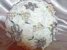 IVORY ROSE BROOCH WEDDING BOUQUET WITH DIAMANTES PEARLS AND CRYSTAL BROOCHES