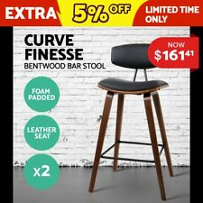 2x Wooden Bar Stools Kitchen Barstool Dining Chair Cafe Wood Black 8782