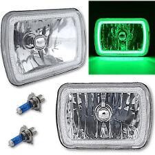 "7X6"" Plasma Green COB LED Glass/Metal Headlight 60w H4 Light Bulb Headlamp Pair"