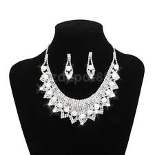 Wedding Bridal Party crystal Pearls BIB Necklace Earrings Jewelry Set SILVER