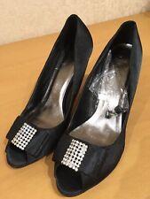 NEW LUNAR 7/40 Black Satin Diamanté Embellished Bow Peep Toe Court Shoes RRP £42
