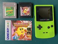 Nintendo GameBoy Color Handheld CGB-001 Kiwi Neon Green Clean Tested W/ 2 Games