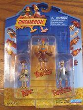 """Aardman- Chicken Run - Mac, Rocky and Fowler 2"""" Figures - 2000"""