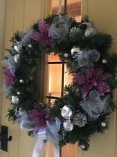Luxury Quality Christmas Door Wreath Baubles Poinsettia Beads Silver Purple 45cm