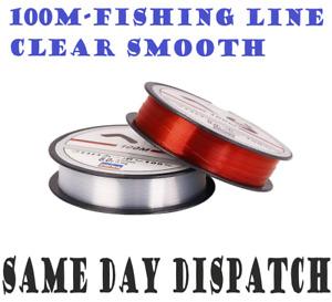 100m Crystal Fishing Line-Clear Smooth Monofilament Line Spool Pond Lakes-Nylon