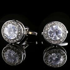 Round Women Mens Silver Cufflinks Cuff Links Dress Wedding White Crystal A36