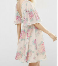 Asos Size 18 Mini Dress with Angel Sleeve in a Flower Print Pink Cream Green