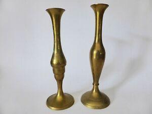 Pair of Solid Brass Vases, Vintage, Gold Metal Bud Vases, Rustic, Decorative