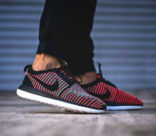 NIKE ROSHE TWO FLYKNIT Running Trainers Gym Casual UK 13 (EU 48.5) Black Crimson