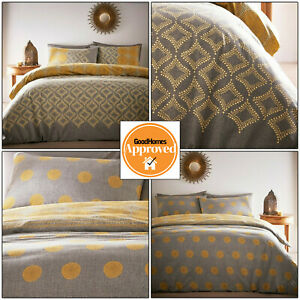 Ochre Mustard Grey Duvet Covers Geometric Ethnic Dots Reversible Quilt Cover Set