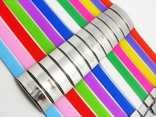 12x Color Mix Stainless Steel Silicone Bracelets Men Women Charm Wristbands