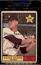 Steve Boros Detroit Tigers 1961 Topps Signed Baseball Card #348 DECEASED