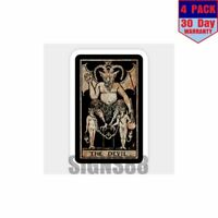 The Devil Tarot Card Vintage Distressed Artwork 4 pack 4x4 Inch Sticker Decal