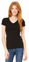 Bella + Canvas Women's Baby 100% Cotton Knit Short Sleeve V Neck T-Shirt. 1005