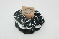 Elasticated  Eco hair scrunchies x 3, hand print floral black and white,gift set