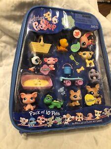 LITTLEST PET SHOP Pack Of 10 Pets & Carry Case W/Accessories 2008 RARE/NEW!!!