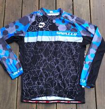 NWOT Sponeed Cycling Jersey Long Sleeve Men Full Zipper Bicycle Multi-Blue XL