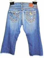 BKE Womens MADISON Distressed Destroyed Capri Denim Blue Jeans Streatch Size 26