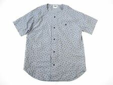 SAINTS PERES PHM POLKA DOT GRAY BLUE MEDIUM SHORT JERSEY STYLE BUTTON DOWN SHIRT