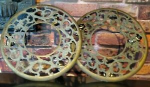 "Set of 2 Vintage Interpure 11"" Rolling Brass Plant Base Stands w/ Caster Wheels"