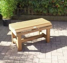Small 2 Seater Wooden Bench Slatted Seat Garden Patio Backless Outdoor Seating