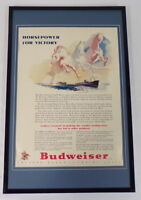 1942 Budweiser Beer Horsepower Framed 11x17 ORIGINAL Vintage Advertising Poster