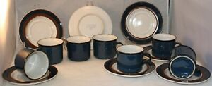 Vintage Japan Stoneware Pottery Blue Coffee Mugs And Saucers Set of 7