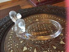 Vintage Sevres Matte & Clear Glass Poodle Trinket Dish Ashtray Tray France