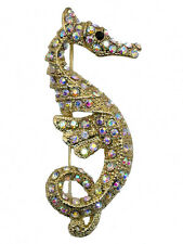Gorgeous Ab Crystal Seahorse Pin Brooch  G36