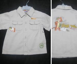 Disney Tigger Jungle Explorer Shirt Boy 24M Khaki Beige short sleeve