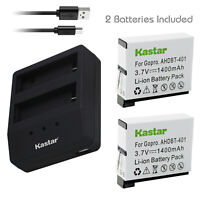 Kastar Gopro4 Battery + Dual Charger for GoPro HERO4 Gopro4 AHDBT-401 AHBBP-401