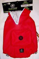 NEW (Choose Size) Red Reflective Reversible Dog Raincoat Coat Jacket Silver Paw