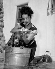 ELIZABETH TAYLOR WASHES HER DOG - 8X10 PHOTO (ZZ-130)