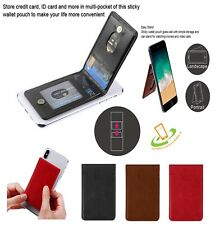 Phone Card ID Holder Sleeve Flip Leather Wallet Pocket Pouch 3M Adhesive Sticker