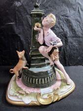 Capodimonte - Unique Merli Boy & Dog Figurine - Boy At Fountain