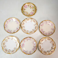 Set 7 Assorted Antique T&V Floral Limoges Ornate Salad/Dessert Plates Gold Rim