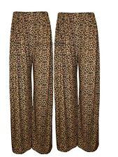New  Womens Animal Leopard Print Palazzo Wide Leg Ladies Trousers