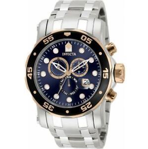 Invicta 80038 Men's Pro Diver Scuba Two Tone Case Blue Dial Chronograph Watch