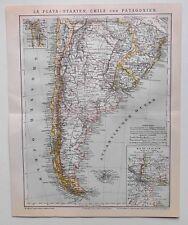 La Plata - Staaten, Chile und Patagonien, alte Landkarte - Lithographie 1884