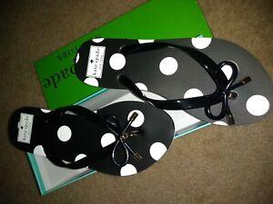 Kate Spade New York Black w White Polka Dot Flip Flop Sandal 6