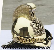 BRASS UNIQUE FIREFIGHTER HELMET-FIREMAN HELMET-W/ LEATHER CAP FREE SHIPPING D1HJ
