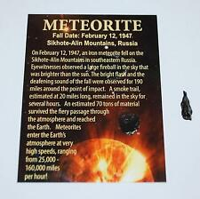 Sikhote Alin Russian Genuine Meteorite 1 to 1 1/2 gram size w/ Color Label #2918