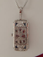 1.62 tcw ART DECO Sapphire & Old Rose Cut Diamond F/VS Pendant Platinum Necklace