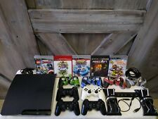 Sony Playstation 3 Slim 160GB bundle 4 controllers 5 games and cables TESTED