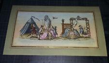 Ancienne Gravure rehaussée - caricature dame de qualité - perruque XVIII eme.