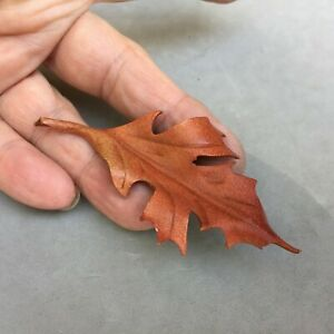 """Leather Oak Leaf Pin Brooch 3 1/4"""" Hand Made Autumn Fall Jewelry Brown"""