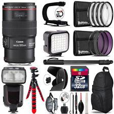 Canon EF 100mm 2.8L IS USM Lens - Video Kit + Pro Flash - 32GB Accessory Bundle