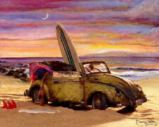 Surf Art ~ VW Volkswagen bug beach surf car