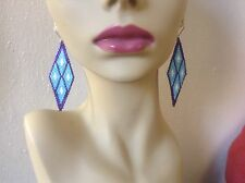 Boho Native Hippie Purple-Robin Egg Blue diamond 3 1/2in delica beaded earrings